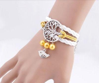 Bracciale Donna Albero della Vita con charms uccello braccialetto ragazza giallo