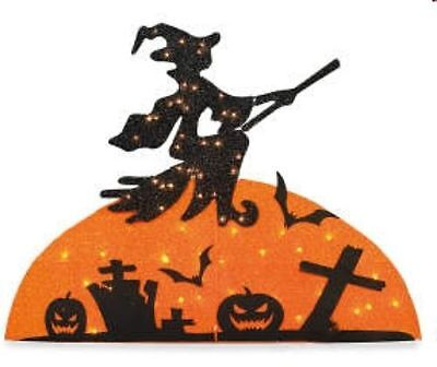 New Lighted Flying Witch Outdoor Lawn Yard Halloween Decoration Moon Cemetery