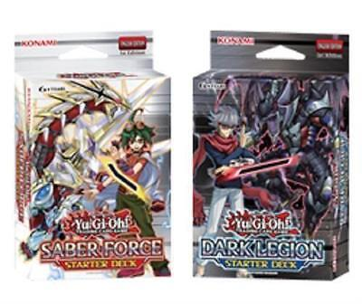 Konami YuGiOh Starter Decks 1 Saber Force & 1 Dark Legion 1st Edt