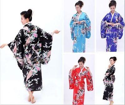 Japanische Kimono Kleid (Hot Vintage japanische Kimono Kostüm Geisha Kleid Obi Kleid Robe)