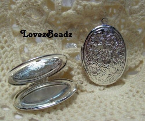 Set Of 2 Shiney Silver Plated Floral Embossed Ornate Detailed Oval Lockets