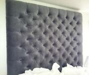 Gray Full Fabric Upholstered Tufted Rectangular Headboard