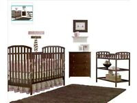 Cot / convertible to child bed age 1-4 with changing table set - walnut colour wood, with mattress