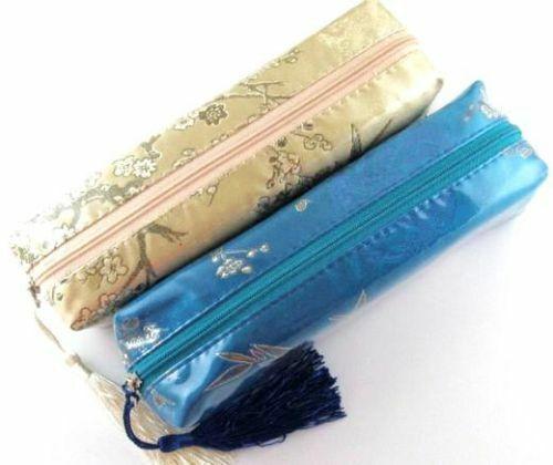 "Long Lined Pen Cosmetic Plastic Satin Zipper Bag + Tassel 7"" x 2"" (Set of 2)"