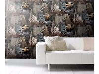 New York Sepia Leftover Wallpaper / Offcuts - Ideal for Arts/Crafts - Cheap