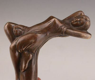 WALKING-STICK-CANE-HEAD-BRONZE-CASTING-WOMAN-STATUE-ACCESSORIES-COLLECTABLE WA