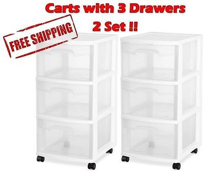 Cart Drawer Utility Storage Box Rolling Organizer Cabinet Plastic Container Home