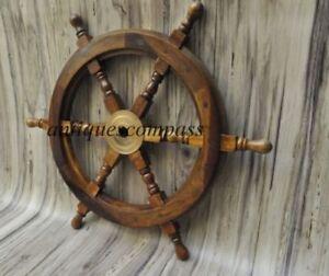 Nautical Wooden Ship Steering Wheel Pirate Decor Wood Brass Fishing Wall Boat