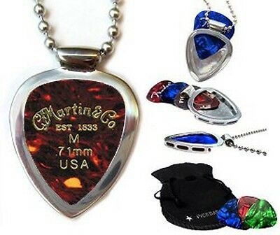 Pickbay Guitar pick holder Necklace Stainless Steel + MARTIN PICKs Set Best