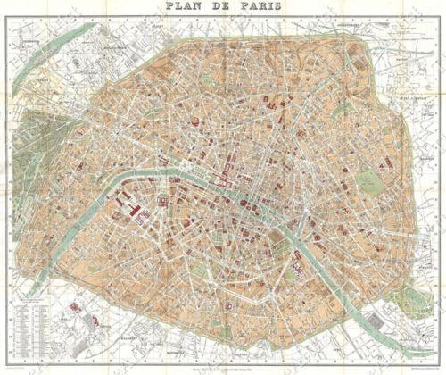 Antique Paris Map | eBay