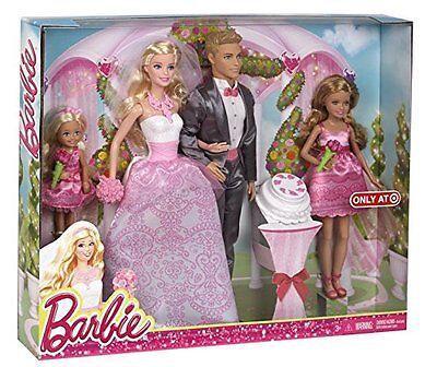 Barbie & Ken Fairytale Wedding Gift Set With Skipper & Chelsea Damaged Box NEW