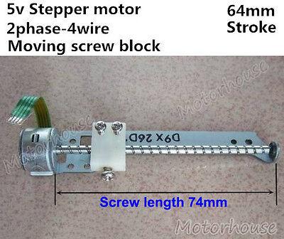 Dc 5v 2-phase 4-wire 64mm Stroke Stepper Motor Linear Moving Screw Slider Block