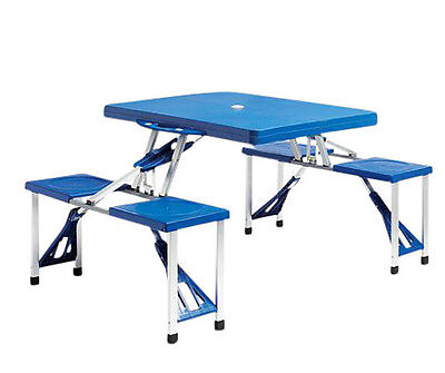 Portable Folding Plastic Picnic Table Indoor Outdoor Kids Camping Table 4 Seats