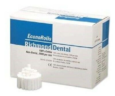 Richmond Dental Econorolls 216206 Econo Cotton Rolls Medium Box Of 2000