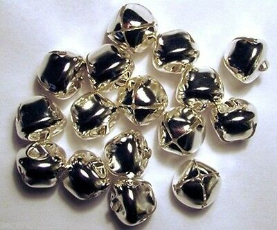 "LOT 75 Shiny SILVER JINGLE BELLS ~ 20mm (3/4"") ~ Metal Craft Holiday Bells"