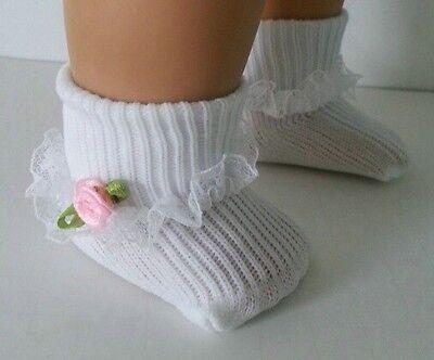 "Lovvbugg White Socks w Lace n Pink Rose for 15"" - 18"" American Girl Doll n Bitty or Preemie"