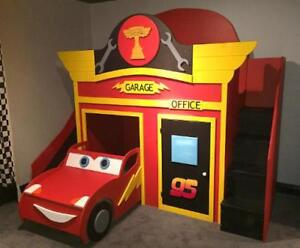 CARS GARAGE Bunk Bed / Loft bed & Play House .. ♥‿♥