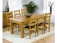 Dining Table, 6 Chairs SOLID PINE LIKE NEW