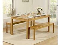 Oxford 150cm Solid Oak Dining Table with Benches | Original Value £939
