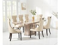Beige marble dining table and 6 chairs