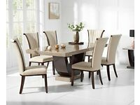 Cream marble table and 6 chairs set