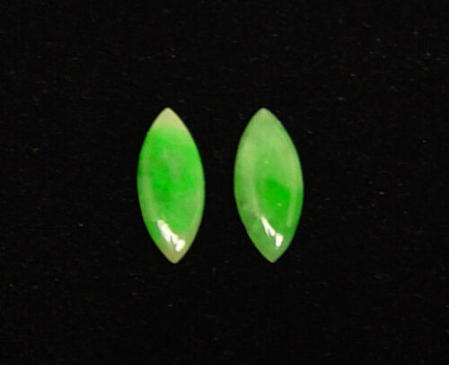 2 NATURAL GREEN JADEITE JADE MARQUISE LOOSE STONES GREAT TRANSLUCENCY & LUSTER