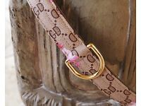 Dog Collar in beige with flowers . Gucci Inspired