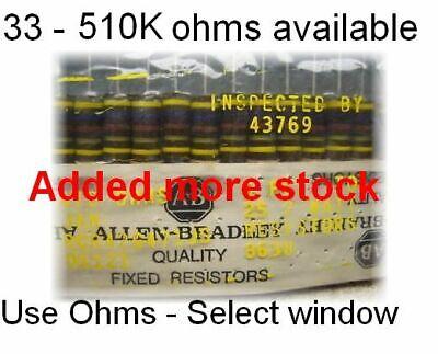 Allen Bradley Carbon 2 Watt 5 Comp Resistors 33 Ohm - 330k Ohm Values Updated