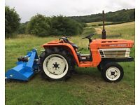 Kubota B1600 2WD Compact Tractor with New 4FT Flail Mower, 20HP, Nice Compact tractor
