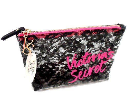 Victoria's Secret Makeup Cosmetic Bag Clear Black Lace Small