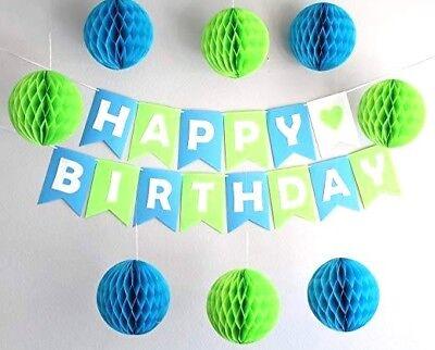 Happy Birthday Decoration Blue for Boy 1st Birthday Party Balloons Paper Pom