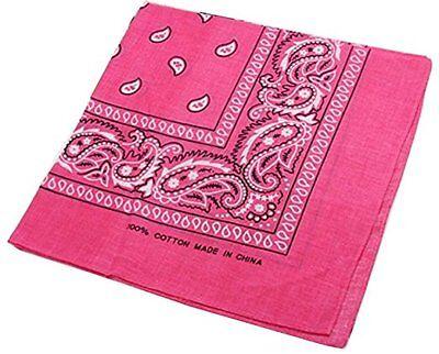 Bandana Paisley Cotton Pink 12 One Dozen Cowgirl Cowboy 22 X 22 in - Cowgirl Bandana
