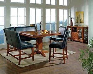 Dining Table,two chairs with benches, pub height