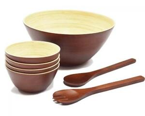 ⭆ ADRIEN LEWIS NEW YORK NEW BAMBOO BOWL 7 PIECE SET - BROWN ✋