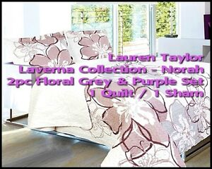 ⭆ LAUREN TAYLOR LAVERNA NORAH FLORAL TWIN NEW 2 PC QUILT SET ✋