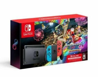 Nintendo Switch Mario Kart 8 Deluxe Bundle w/ Neon Blue/Red Joy-Con SHIPS TODAY