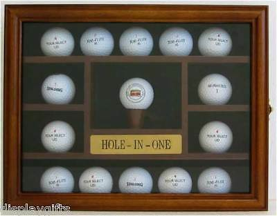 15 Golf Ball Display Case Rack Holder, Hole In One, REAL glass door, GB04-WALN - One Ball Display Case