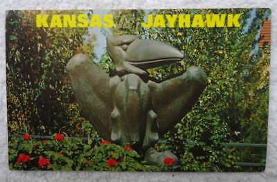 POSTCARD SYMBOLIC JAYHAWK MASCOT THE UNIVERSITY OF KANSAS LAWRENCE KS #1N