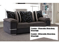 Brand new! Set of 3 seater and 2 seater sofas. Fabric with leather.