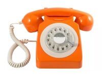 GPO Orange Rotary phone !! New !!