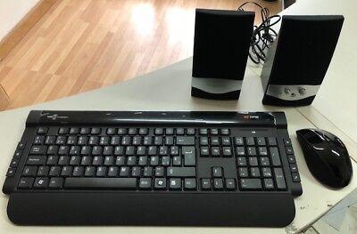 Teclado inalambrico + Ratón inalambrico usb Multimedia+ Altavoces con cable