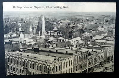 (POSTCARD BIRDSEYE VIEW OF NAPOLEON OHIO LOOKING WEST #44)