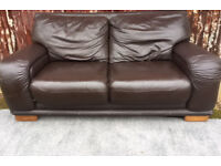2 x 2 seater chocolate brown sofas in good condition.