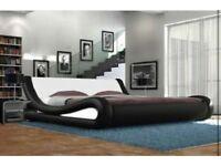 modern white & black king size bed.