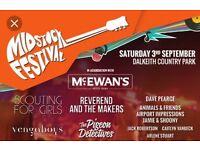 2 x Tickets for Midstock Festival 2016 Dalkeith Edinburgh