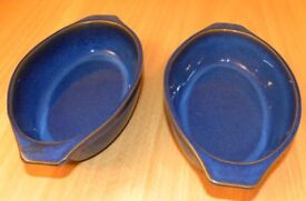 Denby 2 x Imperial Blue oval gratin/serving dishes