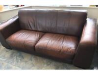 Brown leather vintage style sofa 3/4 seater