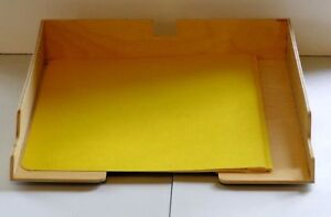 Wooden Ikea letter size file trays with integrated label holder.