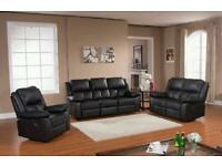 CUBA LEATHER RECLINER SOFA SUITE, 3+2, CUPHOLDERS AND STORAGE, FAST DELIVERY