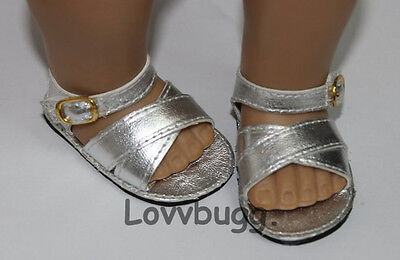 Lovvbugg Silver Crossover Sandals for American Girl 18 inch and Bitty Baby 15 inch Doll Shoes Clothes